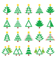Christmas green tree - various types icons vector