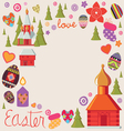 Easter card with a set of art elements vector