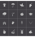 Black autumn icons set vector