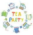 Tea party card with pots and cups vector