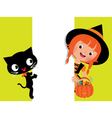 Witch halloween her cat and a white banner vector