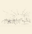 Sunrise in new york city architecture vintage vector