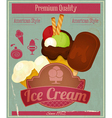 Ice cream vintage card menu vector