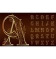 Vintage floral alphabet set vector