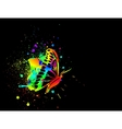 Rainbow ink butterfly on black background vector