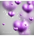 Blurred violet hearts valentines day vector