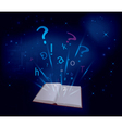Magic book on dark blue background vector