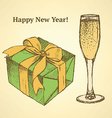 Sketch new year set in vintage style vector