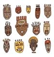 African masks set vector