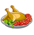 Chicken baked with vegetables on a platter vector