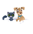 Dog and cat above white banner vector