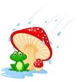 Cartoon mushroom with a toad vector