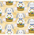 Seamless pattern bunnies with easter eggs vector