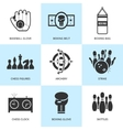 Set of black sports icons vector