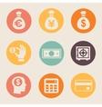 Money and coin icon set vector