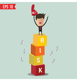 Businessman stand on risk block - - eps10 vector