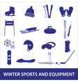 Winter sports and equipment icons eps10 vector