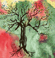 Autumn tree card with watercolor abstract vector