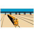 Diesel train high angle retro vector