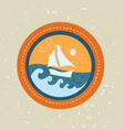 Summer boat badge vector