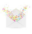 Envelope and falling confetti vector