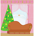 Fashionable interior of living room with christmas vector