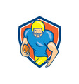 American football running back shield cartoon vector