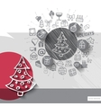 Hand drawn christmas tree icons with icons vector