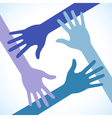 Colorful four hands icon vector