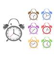 Colorful retro alarm clock vector