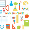 Back to school icons set - funny flat design vector