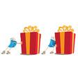 Shopping bag mascot pushing gift box vector