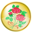 Button red rose vector
