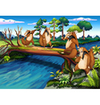 Four playful wild animals crossing the river vector