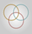 Triple ring chains with gold silver and bronze vector