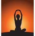 Yoga woman silhouette on sunset vector