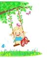 Girl on a swing vector