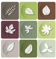 Leaves icon white silhouettes of leaves of forest vector