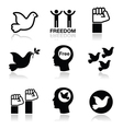 Freedom icons set - dove and fist symbols vector
