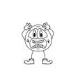Emoticon shock sketch vector