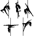 Five pole dancers silhouettes vector