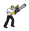 Lumberjack tree surgeon arborist chainsaw vector