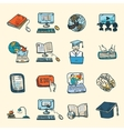 Online education icons sketch vector