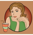 Girl with drink vector