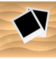 Photoframe on the tropical veack yellow sand vector
