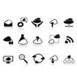 Black cloud network icon set vector