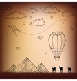 Egypt hand drawn travel and tourism background vector