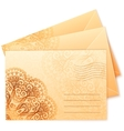 Vintage colors ornate isolated envelops vector