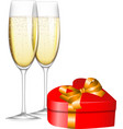 Champagne and gift vector