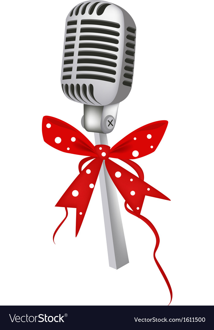 A beautiful vintage microphone with red ribbon vector | Price: 1 Credit (USD $1)